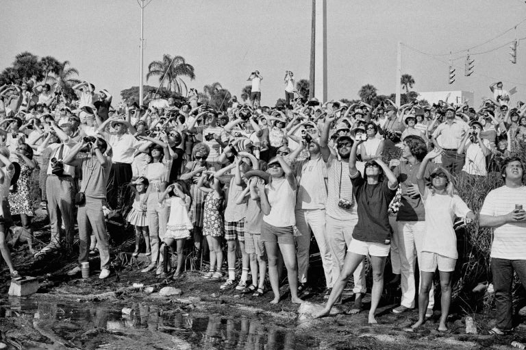 Jean-Pierre Laffont Black and White Photograph - Apollo XI Launch Crowd watching and taking photos Cape Kennedy, FL. July 16th, 1