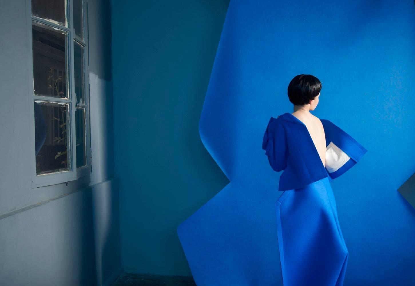 women, blue color, paper Theater #2