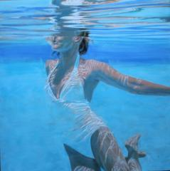 """Dissolve"" Oil painting of a woman in a white swimsuit in a blue pool"