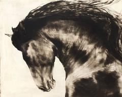 """""""Born King"""" Large scale Black and White Majestic Depiction of Horse Running"""