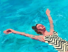 """""""Watery Delight"""" oil painting of woman in chevron floating in Turquoise Pool"""