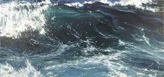 """""""Crystal Wave II"""" oil painting of dark blue ocean waves"""