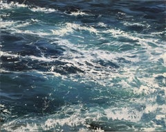 """""""Waters Blue II"""" oil painting of dark blue ocean waves"""