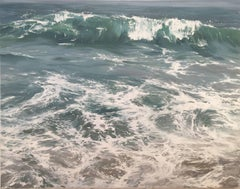 """Wave on Shore"" photorealistic oil painting of blue/green waves in the ocean"