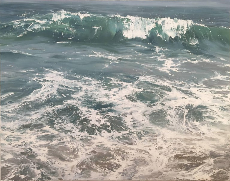 """""""Wave on Shore"""" photorealistic oil painting of blue/green waves in the ocean 1"""