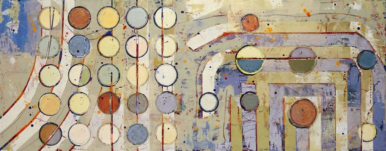 """Jylian Gustlin Abstract Painting - """"Fibonacci 346"""" Abstract Grid-Based Depiction of Math Concept with Earthy Colors"""
