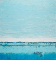 """""""Cielo #85"""" abstract diptych in vibrant blues and turquoise"""