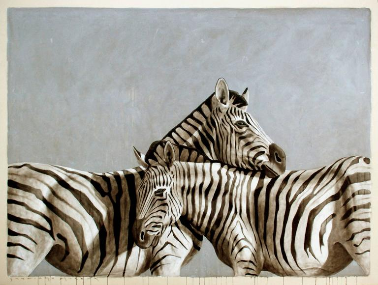 """Andante #46"" Black White and Gray Large Scale Painting of Two Zebras Embracing"
