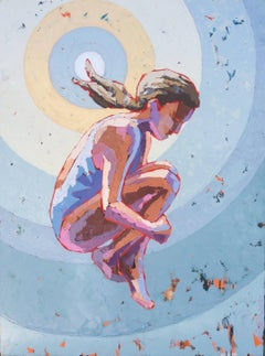 """Sunsplash"" Painterly Impasto, Light Blue, Yellow Purple Target with Swimmer"