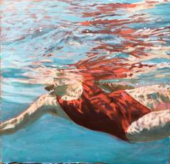 """Jewel"" Oil painting of a woman in a red swimsuit in a blue pool"