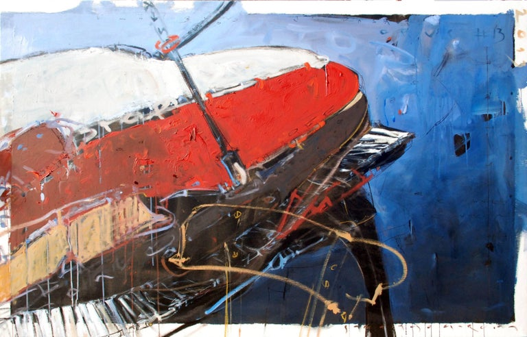 """Omnibus"" abstract oil painting of grand piano in red, white, blue and black 1"