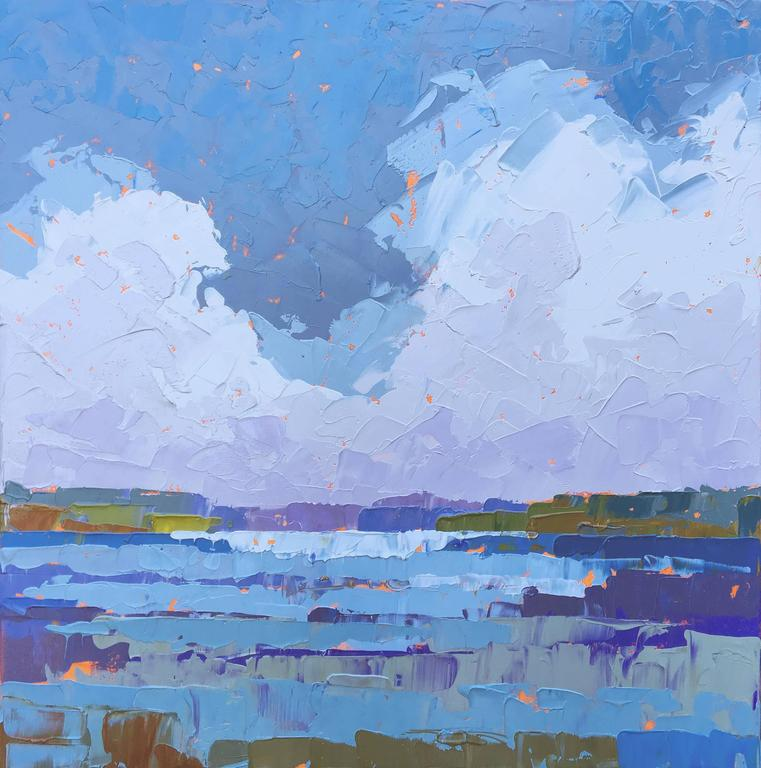 """Paul Norwood Landscape Painting - """"Climbing Clouds"""" Painterly Impasto Stormy Seascape in Blues Purples, Cool Hues"""