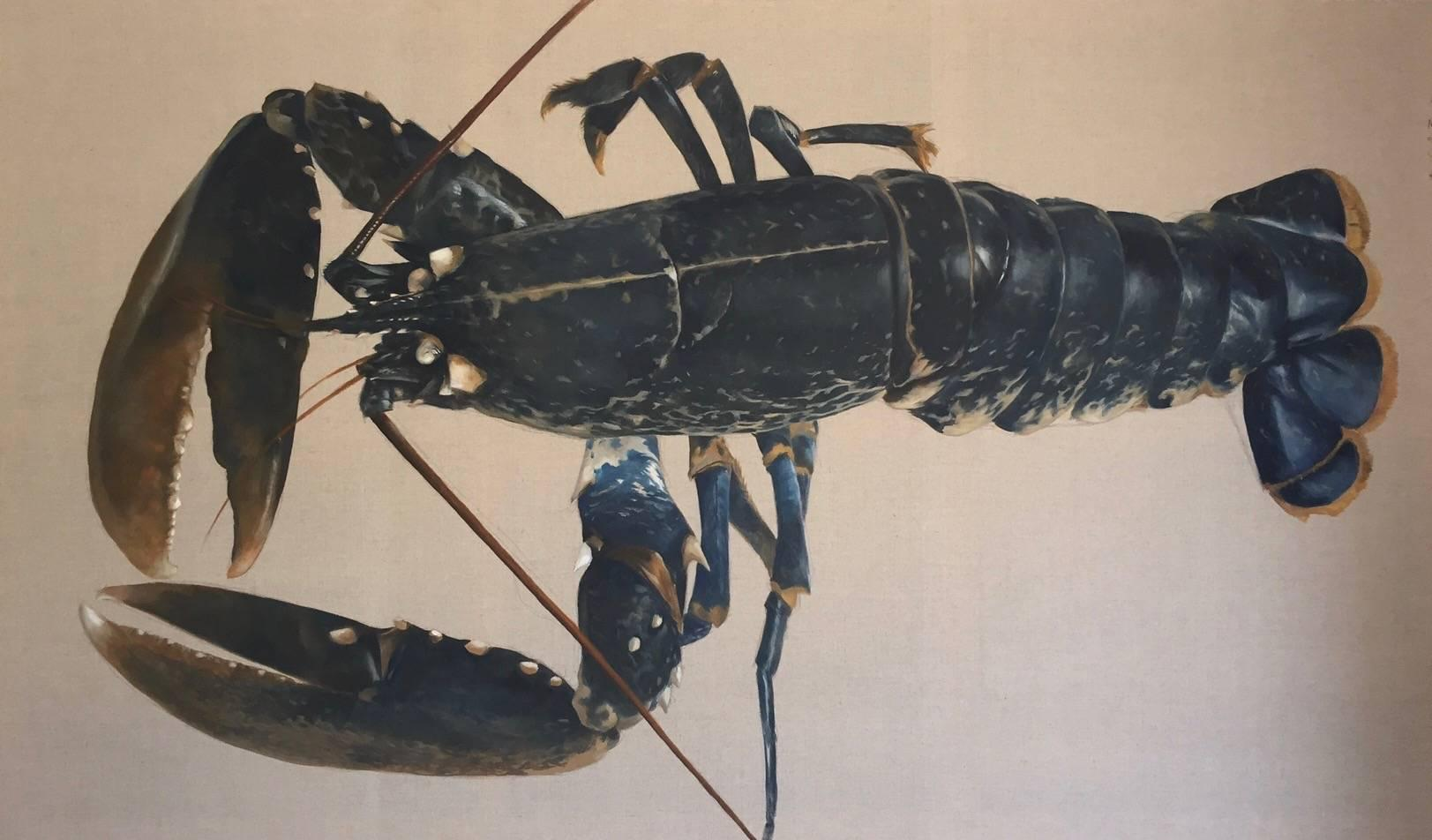 """""""Blue Catch"""" Large scale photorealist painting of Blue Lobster on Exposed Linen"""