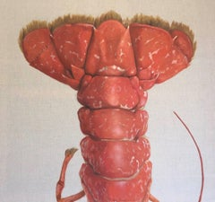 """La Queue"" Red Lobster Tail Painted on Exposed Linen"