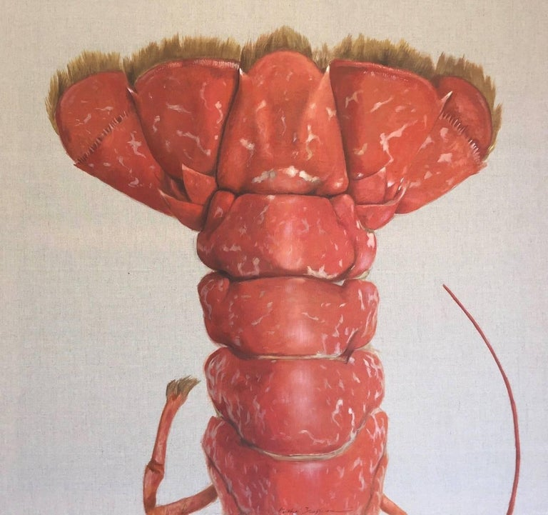 "Michel Brosseau Animal Painting - ""La Queue"" Red Lobster Tail Painted on Exposed Linen"