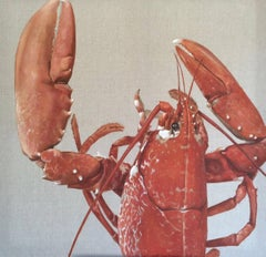 """Keeper"" photorealistic oil painting of red lobster on exposed linen"