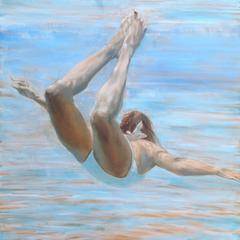 """Free (Blonde)"" Oil painting of a woman in white swimsuit in a blue pool"