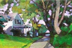 """Street Scene, Edgartown"" oil painting of a Vineyard street in shades of green"