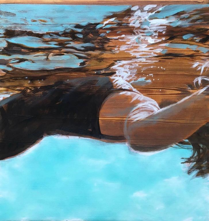 """""""Laid Back"""" Oil painting of a woman in black swimsuit floating in a blue pool"""