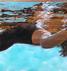 """Laid Back"" Oil painting of a woman in black swimsuit floating in a blue pool"