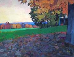 """New England Farm"" oil painting of a green farm with Autumn foliage"