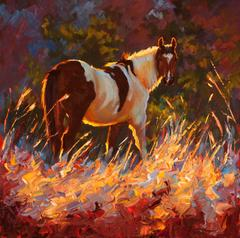 """Paint"" Painterly Depiction, Horse in Tall Grass, Dramatic Summer Light"