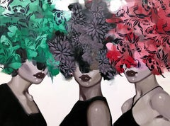 """Three's Company"" portrait of three woman w/ red, green and grey floral bouquets"