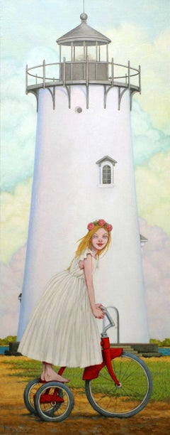 """Island Princess"" Girl in White Dress on Red Tricycle with Lighthouse"