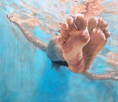 """Hang Time"" Oil painting of feet floating in a blue pool"