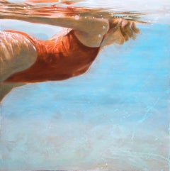 """See Water"" Oil Painting of a Woman in a Red Swimsuit in Blue Pool"