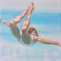 """Free Horizon"" Oil painting of a woman in a white swimsuit in a blue pool"