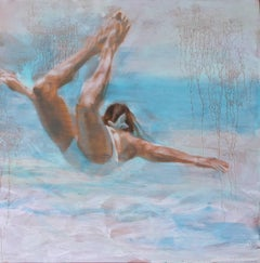 """Free Floating"" Oil painting of a woman in a white swimsuit in a blue pool"