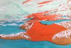 """August Suspense"" Oil painting of a woman in a red swimsuit in a blue pool"
