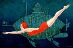 """Busby Berkely"" Woman in Red Bathing Suit Swimming in Deep Green with Submarine"