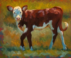 """A Spring to Her Step"" Painterly Dramatically Lit Cow with Bright Greens, Blues"