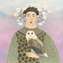 """""""Afternoon Visit"""" Folksy Mixed Media, Owl and Woman with Floral Crown in Pastels"""