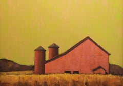 """""""Red Barn at Dawn"""" Red Barn with Striking Bright Yellow Sky"""