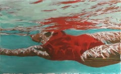 """Suspense Study (Light)"" Oil painting of a woman in a red swimsuit in blue pool"