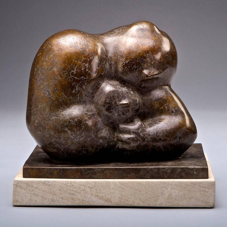 Monica Wyatt Figurative Sculpture - Fatherhood (Gold Patina)