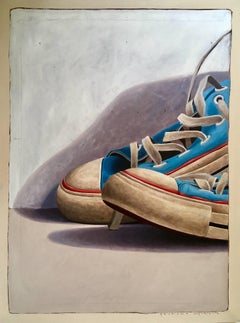 """""""#1025"""" Large Scale Cropped oil painting of worn Blue Converse Sneakers"""