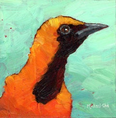 """""""My Sunny Day"""" oil painting of an orange and black bird on a green background"""
