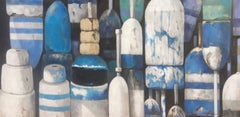"""Band of Blues"" Close-up of Blue, Turquoise, Black and White Bouys"