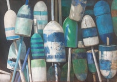 """Buoy Bouquet"" photorealist oil painting of blue, white and green buoys on linen"