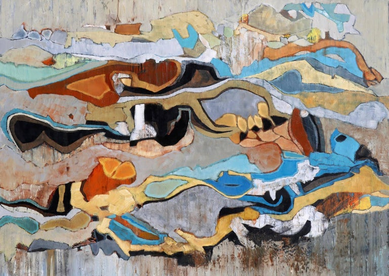 """Emerald Bay 22"" Abstract in Browns, Turquoise, Blue, Orange, Neutrals"