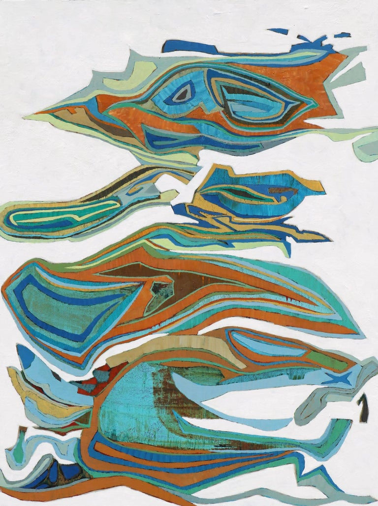 """Montcada 2"" Abstract in Blue, Turquoise, Orange, Brown, White"