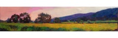 """Napa Hillside"" oil painting of California landscape, pink sky and green field"