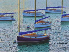 """Cats"" Sailboats in Blue Ocean, Calm Quiet Seascape"