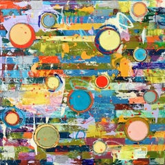 """""""Fibonacci 383"""" Abstract in Bright Colors Yellow Green Blue Turquoise Red"""