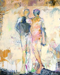 """""""Sirens 1"""" Figurative in Light Yellow, Pinks, Bright Colors, Drips and Lines"""