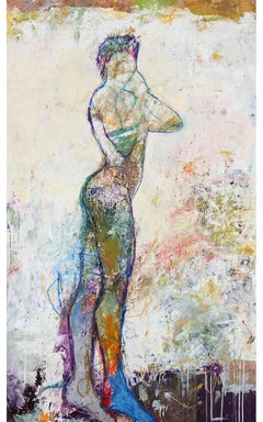 """""""Juno 1"""" Mixed Media Figurative Painting with Bright colors and White"""